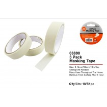 JAK Strong & Reliable Masking Tape - 2.4cm x 10m - Pack of 3