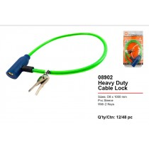JAK Bicycle Cable Lock with 2 Keys - Size 7 - 55cm