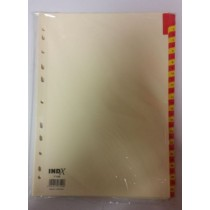 A4 Red And Yellow Coloured Numbered Index Divider Cards - Numbers 1 - 31