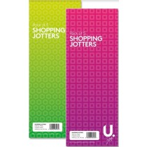 U Jot Shopping Jotters - 21 x 7.5cm - Green/Pink - Pack of 5