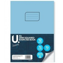 U Learn A4 Squared Exercise Book with 5mm Squares - 70 GSM - 72 Pages