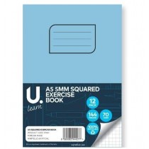 U Learn A5 Squared Exercise Book with 5mm Squares - 70 GSM - 144 Pages