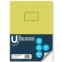 U Learn A4 Squared Exercise Book with 10mm Squares - 70 GSM - 72 Pages