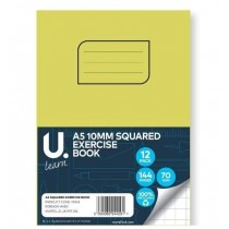U Learn A5 Squared Exercise Book with 10mm Squares - 70 GSM - 144 Pages