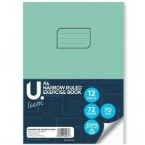 U Learn A4 Narrow Ruled Exercise Book - 70 GSM - 72 Pages