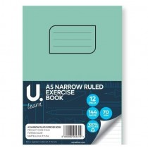 U Learn A5 Narrow Ruled Exercise Book - 70 GSM - 144 Pages