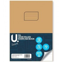 U Learn A4 Wide Ruled Exercise Book - 70 GSM - 72 Pages