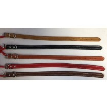 Leather Stitched Dog Collar - 2cm x 47cm Approx - Colours May Vary