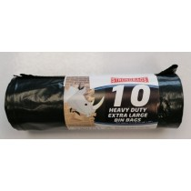Strong Bags Heavy Duty Recyclable Extra Large Bin Bags - 74 x 99cm - Roll of 10