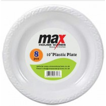 Disposable Plastic Plates - 10 Inch - Pack Of 8