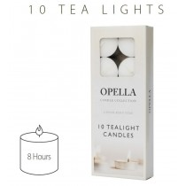 Opella Non-Fragranced Tea Lights / Candles - White - Pack Of 10