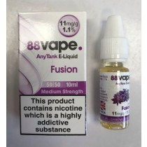 88 Vape Any Tank E Liquid - Fusion - 50/50 Pg/Vg - 11Mg - 10Ml