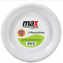 Disposable Plastic Plates - 9 Inch - Pack Of 12