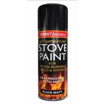 Paint Factory High Temperature Stove Paint for Wood Burners, BBQ's & Stoves - Black Matt - 400ml