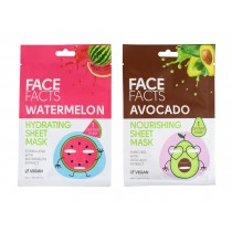 Face Facts Printed Fruit Sheet Mask - Avocado & Watermelon - 20ml