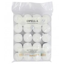 Opella Non-Fragranced Long Lasting Tea Lights / Candles - White - Pack Of 20