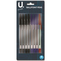 U Write Ballpoint Pens - Assorted Colours - Pack of 8