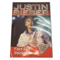 JUSTIN BIEBER FACT FILE STICKER BOOK WITH REUSABLE STICKERS INSIDE