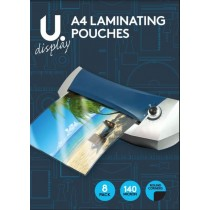 U Display A4 Laminating Pouches - Pack of 8