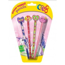 Cre8 Eraser Topped Pencils for Girls - Assorted Designs - Pack of 4