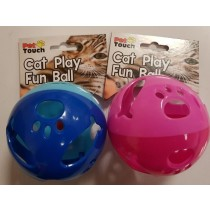 PET TOUCH - CAT PLAY FUN BALL WITH BELL - COLOURS MAY VARY