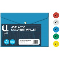 A5 Plastic Document Wallet - Pack of 5 - Assorted Colours