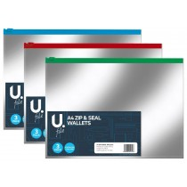 A4 Zip & Seal Wallets - Pack of 3 - Assorted Colours