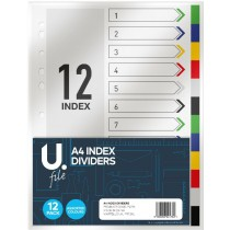 A4 Index Dividers - Pack of 12 - Assorted Colours