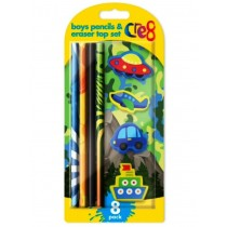 Cre8 Boys Pencils & Eraser Top Set - Pack of 8