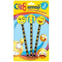 Cre8 Emoji Eraser Topped Pencils Set - Pack of 3