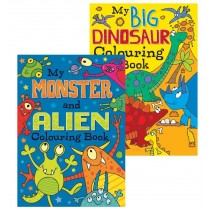 Monster And Alien/Big Dinosaurs Colouring Book - Assorted - 27 x 19.5cm - 0% VAT