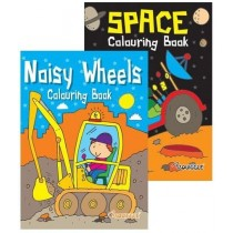 Noisy Wheels/ Space Colouring Book - 27 x 19.5cm