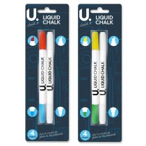 Liquid Chalk Pens - Pack Of 2 Double Sided Pens - 4 Chalks