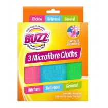 Buzz Microfibre Clothes for Kitchen, Bathroom & General Purpose - 29 x 29cm - Pack of 3