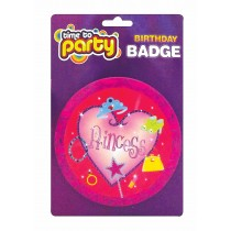 Girls Princess Birthday Party Badge