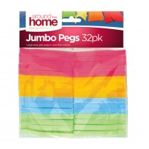 Jumbo Plastic Washing Pegs - Pack Of 32 - Assorted Colours