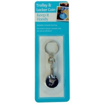 Reusable Shopping Trolley & Locker Coin £1 Or 1 Euro Token Holder Keyring New Shape