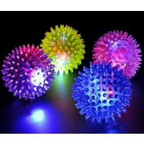 Spikey Rubber LED Ball - Assorted Colours - 7cm