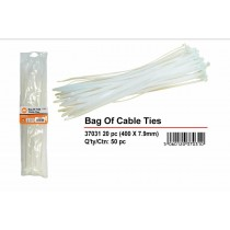 Natural Cable Ties - White - 400mm x 6mm - Pack of 20