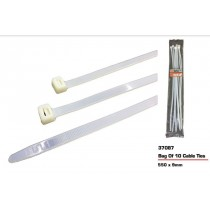 JAK Cable Ties - White - 550 x 9mm - Pack of 10