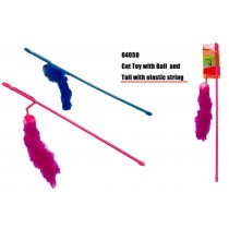 Cat Play Toy With Ball and Tail with Elastic String - Colours May Vary
