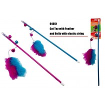 Cat Play Toy With Feather and Bells - Colours May Vary