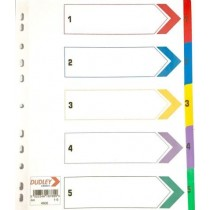 A4 Coloured Numbered Index Divider Cards - Numbers 1 - 5