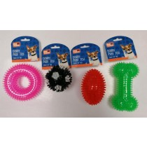 Pet Touch TPR Squeaky Spike Doggy Play Toy - 8cm - Assorted Colours