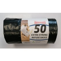 Strong Bags Heavy Duty Recyclable Extra Strong Refuse Sacks - 60 x 80cm - 50L - Roll of 50