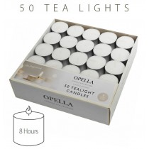 Opella Non-Fragranced Long Lasting Tea Lights / Candles - White - Pack Of 50