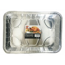Foil Rectanglar Deep Large Disposable Aluminium Roasting Tray  - Approximate Size 44Cm X 33.5Cm