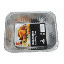 FOIL DEEP RECTANGLAR DISPOSABLE ALUMINIUM ROASTING TRAY - APPROXIMATE SIZE 32cm x 26cm - PACK OF 2