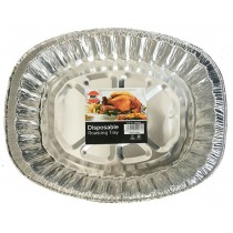 Foil Oval Deep Large Disposable Aluminium Roasting Tray - Approximate Size 43Cm X 35Cm