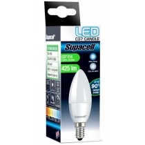 Supacell Led C37 Ses (E14) Base Candle Light Bulb With Screw Fitting - Opal/Pearl - Cool White